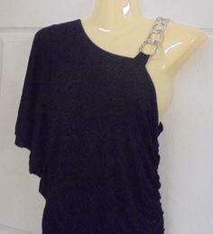Vertigo Paris One-Shoulder Evening Gown Black with Silver chain Size: Medium #VertigoParis #OneShoulder #Clubwear