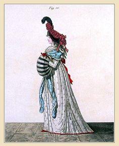 Bonnet of black velvet. Morning Dress. Regency fashion era .
