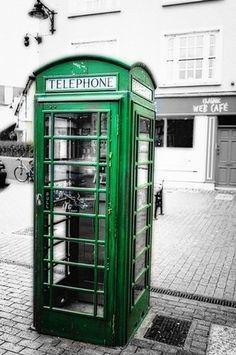 George Oze Premium Thick-Wrap Canvas Wall Art Print entitled Irish Phone Booth, Kinsale, County Cork, Republic of Ireland Aesthetic Vintage, Aesthetic Photo, Aesthetic Pictures, Photo Wall Collage, Picture Wall, Color Splash, Photo Bleu, Dark Green Aesthetic, Gold Aesthetic