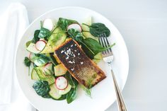 Crispy Skin Salmon with Zucchini Cucumber Salad