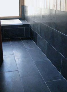 12X24 Tile Natural Stone Bathroom Black  Slate Bathrooms In Restaurants  Sydney CBD Dark Floor