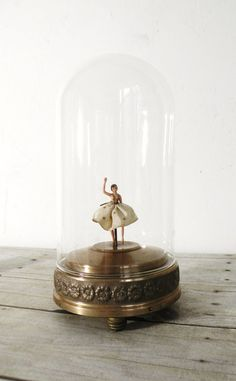 Vintage ballerina music box with glass dome~Image by Anna Harris (Etsy)