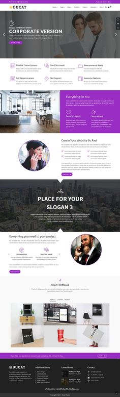 Ducat is clean and modern design responsive multipurpose WordPress theme for stunning #corporate website with 35+ niche homepage layouts to live preview & download click on Visit #wordpresstheme
