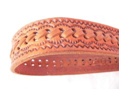 BRAIDED EMBOSED LEATHER Belt by HousewifeVintage on Etsy, $19.00