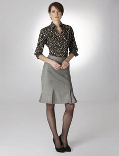 Grey Sharkskin Wool Skirt