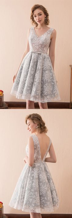 V-neck Lace Short Prom Party Dress, view more ideas