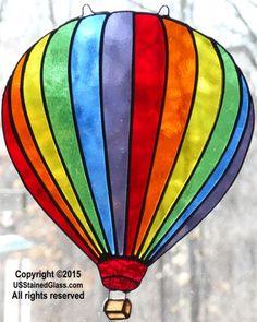 Hot Air Balloon Stained Glass Suncatcher