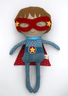 Superhero doll for boys 19/50cm roll play toy rag by LaLobaStudio