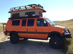 Sportsmobile Custom Camper Vans - Aluminess bumper and roof rack Custom Camper Vans, Custom Campers, Car Camper, Camper Life, Custom Vans, Off Road Camping, Truck Camping, Van Camping, Sportsmobile Van
