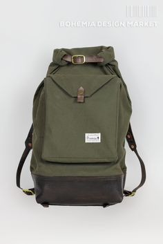 Roll top rucksack #limited #edition #green #rolltop #leather #element #original #local #production #rucksack #travel #nomad #traveler Bohemia Design, Rucksack Backpack, Canvas Leather, Backpacks, The Originals, Design Market, Stuff To Buy, Bags, Clothes