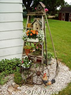 Outdoor Garden Decorations Made of Old Wooden Ladders
