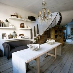 fabulous gathering space & stairs..<3 the big table too!! (note* wide plank flooring so yummy)!