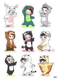 EXO chibi in costumes Jin Chibi, Goku Chibi, Haikyuu Chibi, Draw Chibi, Chibi Manga, Fanart Manga, Dibujos Anime Chibi, Fanart Bts, Baekhyun Fanart