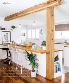 #ClippedOnIssuu from Adore Aug/Sep 2014 - love the wood beam and post - wood floors - bar stools - overall feel