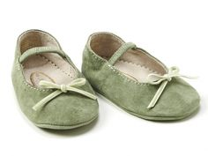 green baby girl shoes ballet flats summer normandie detail