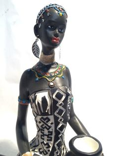African Woman Statue Sitting  Kenyan Tribal Art Doll Figurine