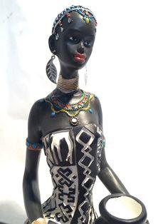 African Woman Statue Sitting  Kenyan Tribal Art Doll Figurine