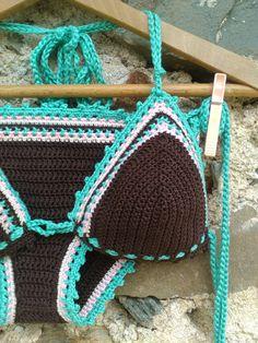 crochet bikini Dark Brown - Crochet Vintage bikini Crochet Boho bikini Hippie bikini Triangle bikini String bikini - Bra and Bikinis Crochet Bikini Pattern, Crochet Lace Edging, Crochet Shorts, Bralette Pattern, Crochet Blouse, Crochet Clothes, Crochet Patterns, Crochet Woman, Crochet Baby
