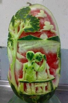 The humble watermelon--who knew it would be so conducive to creating an art masterpiece!