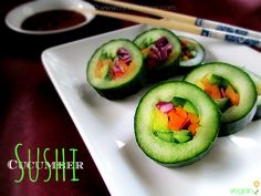 Kid Friendly 'Raw' Cucumber Sushi - from Canned-Time.com  a delicious, fresh veggie version with so many variations #appetizers #rawfoods #r...