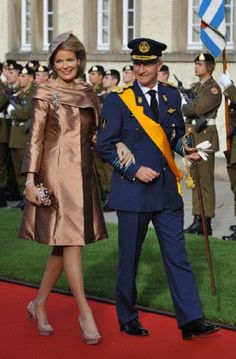 Oct 20 - Prince Philippe and Princess Mathilde of Belgium arrive before the religious wedding in Luxembourg