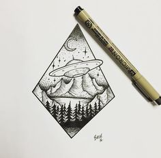 Ink drawing: triangle with space ship art ufo tattoo, tattoo Tattoos 3d, Alien Tattoo, Bild Tattoos, Tattoo Drawings, Small Tattoos, Outer Space Tattoos, Tattos, Black E White, Spaceship Art