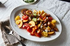 MADE It - Tomato, Peach, Chèvre, and Herb Salad with Apple Vinaigrette recipe on Food52