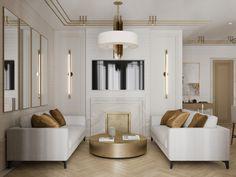 """Дизайн трёхкомнатной квартиры в ЖК """"Оливковый дом"""" Tv Wall, Elegant, Interior, Studio, Modern, Wall"""