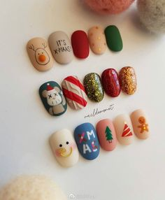 30 Adorable Christmas Nails For The Loveliest Girls In The World The above nails contain many elements: Christmas trees, dears, stars, socks, snow and Santa Claus. Pick one of your favorite and go to have it. Christmas Gel Nails, Christmas Nail Designs, Christmas Nail Art, Holiday Nails, Christmas Trees, Christmas Girls, Korean Nail Art, Korean Nails, Acrylic Nail Designs