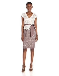 Adrianna Papell Womens Two Tone V-Neck Scroll Lace Cocktail Dress, Eggshell Sable, 4 List Price: $169.00 Buy New: $135.99