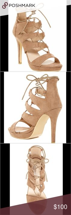 "Catherine Malandrino Lillie Platform Sandal Catherine Malandrino Beige Lillie Platform Sandal.  NWT.  Perfect going out shoes to match plenty of outfits.  Open-toe.  Faux suede.  Super sexy.  Ghillie lace up.  Stiletto heel.  Can be worn with dress, skirt, pants or skinny jeans.  Approximately 4.5"" heel and 0.75 platform Catherine Malandrino Shoes Heels"