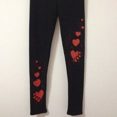 Black leggings with hearts  Handmade cotton by COOLLeggings