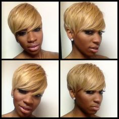 Weave Inspiration Not all weave has to be long! You can achieve this Nene Leaks inspired look with a quick weave that's already cut into the short hairstyle lengths, or buy just using the weave of your choice and getting it cut into the desired style! Weave = versatility!   for hair tips and more follow TrackStarHoney!