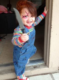 Child dressed as Chucky Doll for Halloween. http://www.littlethings.com/inappropriate-baby-costumes/
