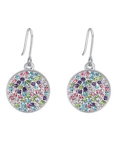 d790ff0ff callura | Silvertone Pavé Drop Earrings With Swarovski® Crystals