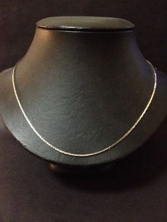 Pre Owned Sterling Silver Necklace - 1mm Cobra Chain 45cm- Stamped 925 Italy