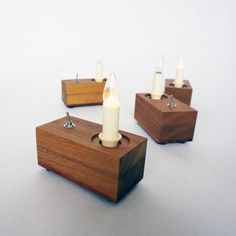 Lamp 'Candle'  |  Small lamp with authentic candle. The light is powered by a 9 volt battery that provides total burn time of about 6 hours. The battery is easy to replace.  The lamp produces 0,32 watts of light and consumes approximately 40 mA.