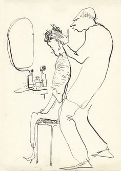 HAIRCUT DAY - barbershop hipsters - sketch from the 60's - by D. Messenger - copy - rare.