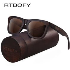 df5eef7f1e RTBOFY Wood Sunglasses for Men   Women Duwood Frame Eyeglasse Polarized  Lenses Glasses Vintage Design Shades