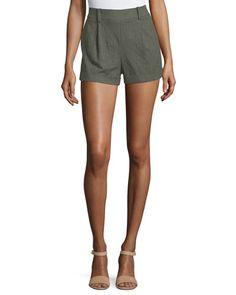 TBX86 Diane von Furstenberg Gillian High-Rise Woven Shorts, Deep Lichen