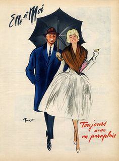 Umbrella ad, 1959. Illustration by Pierre-Laurent Brenot