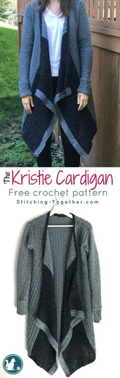 Free crochet pattern for an adorable blanket cardigan. This cardi is fashionable and functional. Made in Lion Brand Jeans Yarn it is soft, warm and comfortable. The cascading effect makes a beautiful flowing sweater |crochet cardigan| #crochet