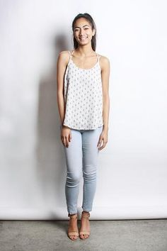 Printed Open Back Tank Top