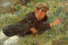 Henry Scott Tuke, Bluebells, Oil on mahogany panel, Collection: The Tuke Collection, Royal Cornwall Polytechnic Society