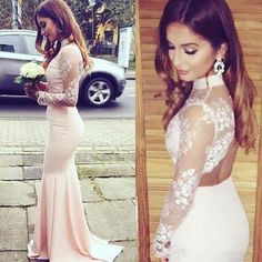 A319 sexy pale pink mermaid high neck backless prom dresses, prom dress,mermaid evening dresses,backless prom dress,sexy prom dress,long sleeves dress