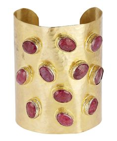 Gold-Plated Oval Ruby Cabochon Hammered Cuff Bracelet | Liberty London