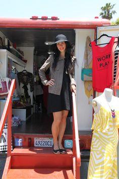 Mobile boutique in santa monica. Vintage Rv, Mobile Boutique, Boutique Ideas, Shabby Chic Homes, Cafe Design, Santa Monica, Motorhome, Boutiques, Ideas Para