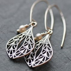 Petite Silver Deco Filigree Earrings by WishByFelicity on Etsy