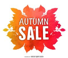 Banner design featuring a watercolor illustration made from autumn foliage in tones of orange and red. It says autumn sale in big capital letters. Banner Design, Layout Design, Layout Template, Create A Logo, Watercolor Background, Printed Materials, Watercolor Illustration, Autumn, Label