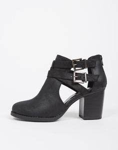 Double Buckled Ankle Booties - Black Ankle Boot - Cut Out Booties – 2020AVE